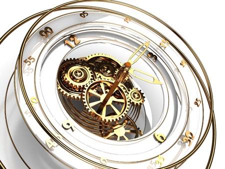 reloj de pendulo: Ilustraci�n 3D del mecanismo del reloj con n�meros de oro y flechas Foto de archivo
