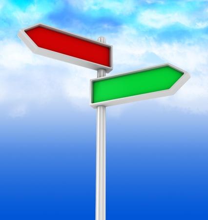 3d illustration of choice direction sign illustration