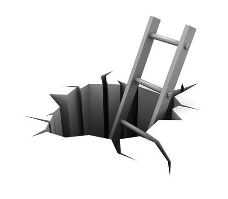 hole: 3D Abbildung der Leiter in Loch over white background