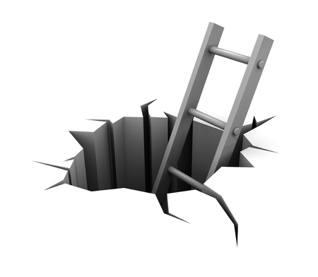 dangerous ideas: 3d illustration of ladder in hole over white background