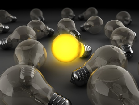 3d illustration of light bulbs crowd with one shining illustration