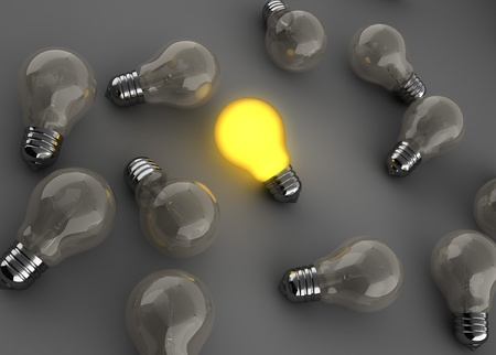 3d illustration of light bulbs with one shining illustration