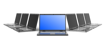 3d illustration of laptop computers with one selected Stock Illustration - 9518776