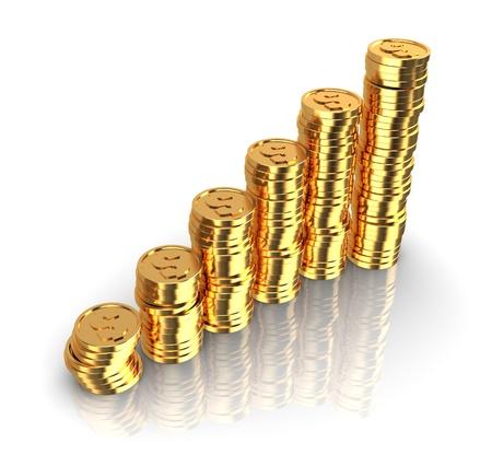 abstrakt 3d abbildung von Rising goldenen Münzen Charts, gegenüber dem weißen Hintergrund
