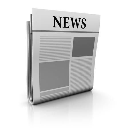 3d illustration of newspaper icon or symbol Stock Illustration - 9518766