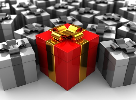 abstract 3d illustration of many gifts with one best illustration