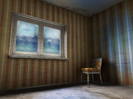 home destruction: 3d illustration of grunge room with rain in window