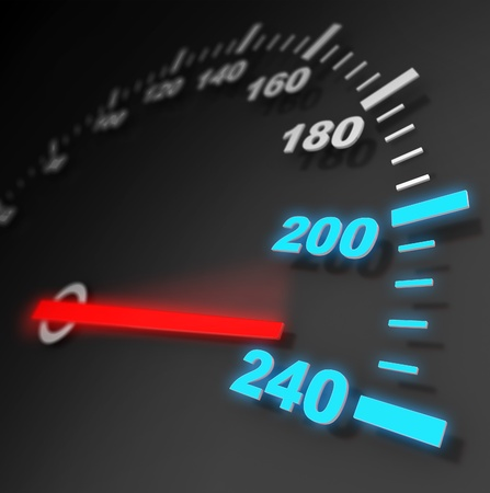 high scale: 3d illustration of car speed meter close-up