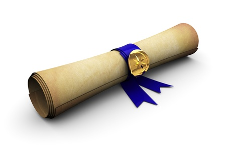 certificate: 3d illustration of old paper scroll with blue ribbon Stock Photo