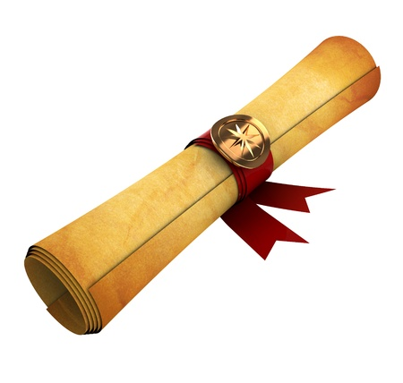 rolled: 3d illustration of old paper scroll isolated over white background