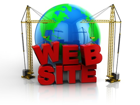worldwide website: 3d illustration of two cranes building web site text, web design concept