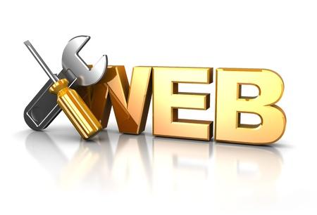web commerce: Illustrazione 3D di icona del design web su sfondo bianco