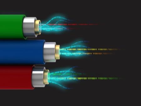 fibra �ptica: Ilustraci�n 3d abstracta de tres cables con datos digitales dentro de