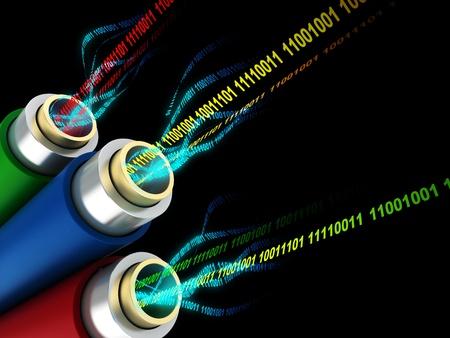 fibre optique: 3d illustration de fils ou de fibres optiques avec des donn�es num�riques � l'int�rieur Banque d'images