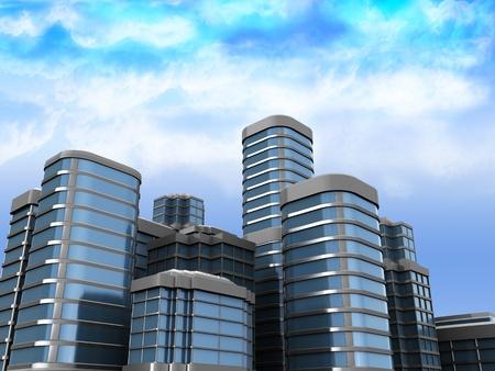 clouds scape: 3d illustration of city