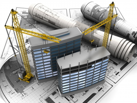 épület: elvont 3d építési koncepció