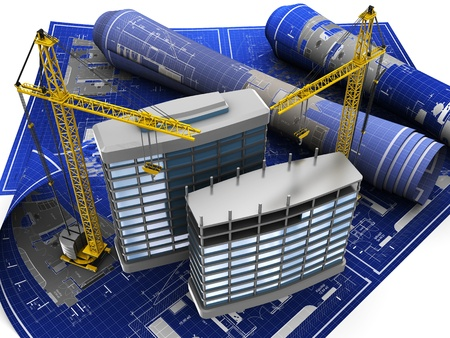 abstract 3d illustration of building construction on blueprint illustration