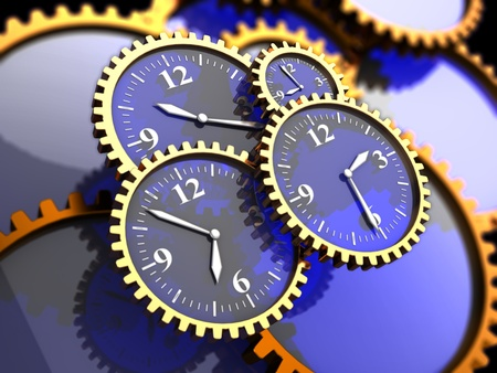 precision: 3d illustration of clock gears background, time concept Stock Photo