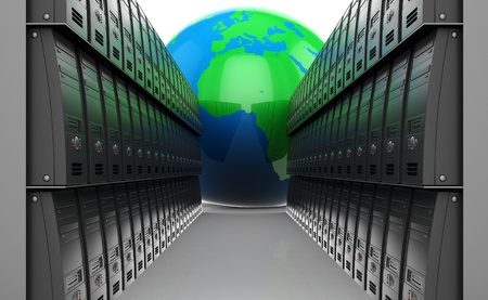 abstract 3d illustration of many servers and earth globe illustration