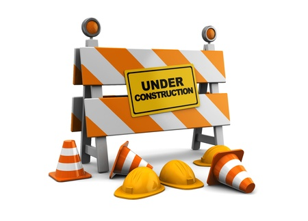 traffic barricade: 3d illustration of under construction barrier over white background