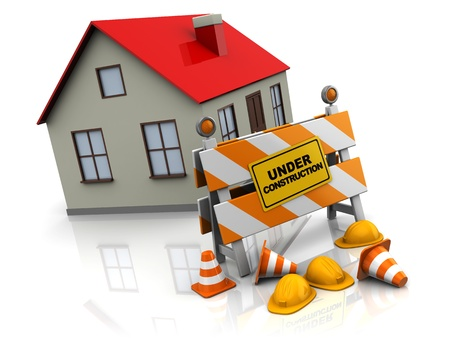 house under construction: 3d illustration of house with under construction barrier Stock Photo