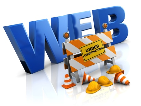 traffic barricade: 3d illustration of website under construction concept