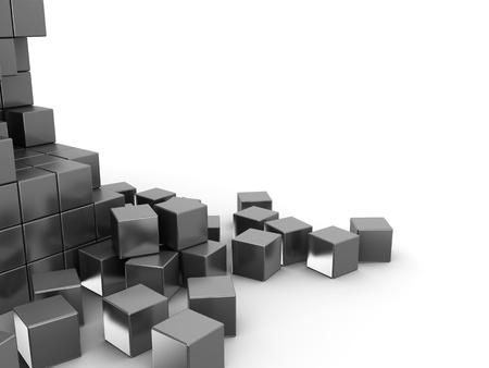 cubo: Ilustraci�n 3d abstracta de fondo de cubos de metal Foto de archivo
