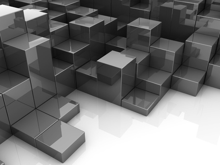 futuristic city: abstract 3d illustration of red boxes background
