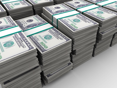 pile of money: abstract 3d illustration of many dollars background