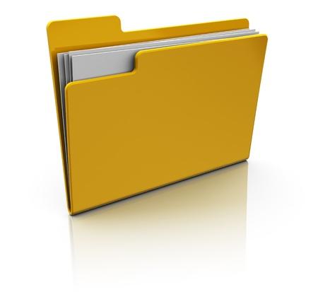 carpetas: Ilustraci�n 3D del icono de carpeta de color amarillo sobre fondo blanco
