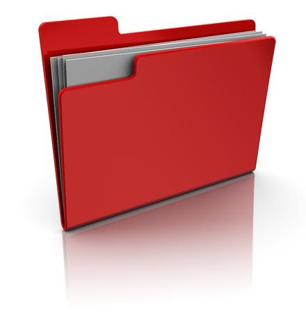 organised: 3d illustrationof red folder icon