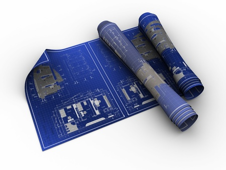 building blueprint: 3d illustration of rolled blueprints over white background