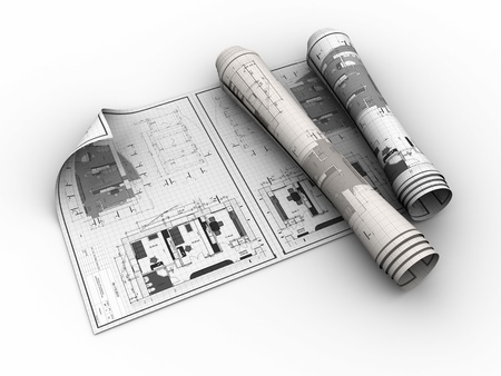 architectural structure: 3d illustration of rolled blueprints over white background