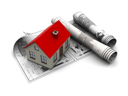 3d illustration of blueprints and house model, over white background Stock Illustration - 9732126