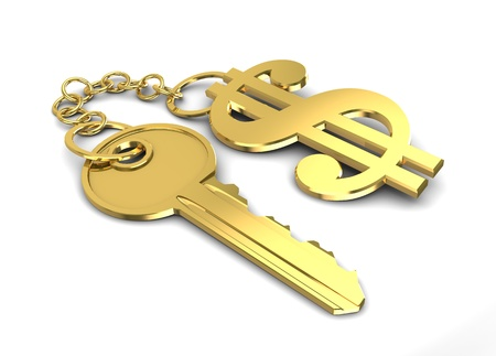 key to success: 3d illustration of golden key with dollar shaped keyholder