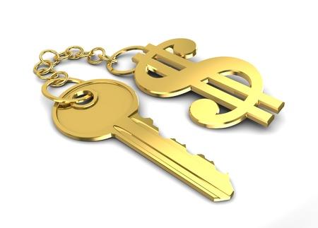 white key: 3d illustration of golden key with dollar shaped keyholder