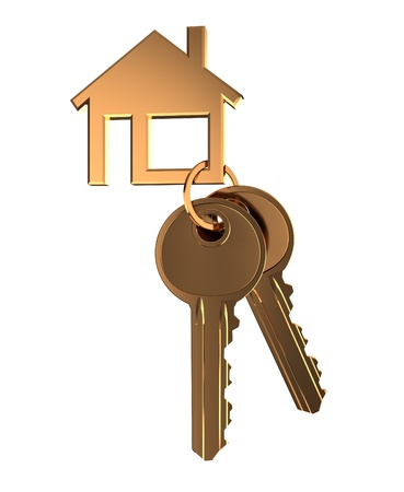 key in the lock: 3d illustration of home keys isolated over white background Stock Photo