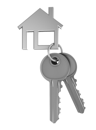 3d illustration of two keays and house shaped keyholder illustration