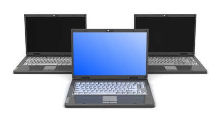 3d illustration of three laptop computers over white background Stock Illustration - 9732098