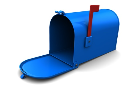 3d illustration of blue mailbox over white background Stock Illustration - 9732095