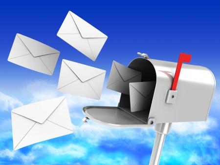 Ilustración 3D de buzón con muchas cartas sobre fondo de cielo azul