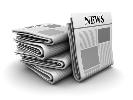 periodicos: Ilustraci�n 3D de pila de peri�dicos sobre fondo blanco