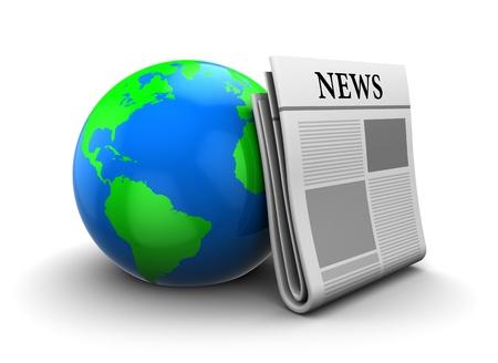 actuality: Illustrazione 3D del globo di terra con il giornale