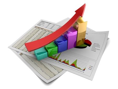 3d illustration of rising charts with red arrow Stock Illustration - 9732116