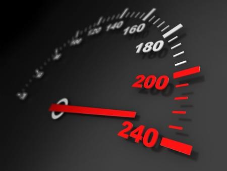 3d illustration of car speed meter close-up illustration