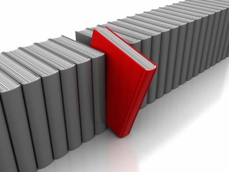 selected: 3d illustration of gray books row, with one red selected Stock Photo