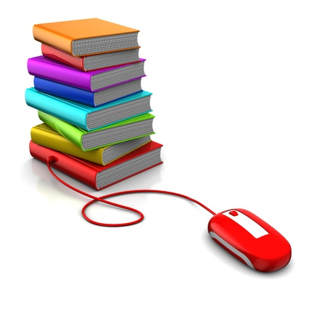 ebook: 3d illustration of books and computer mouse, electronic library concept Stock Photo