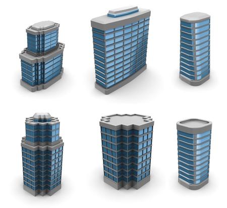 épület:  3d illustration of city buildings set, over white background