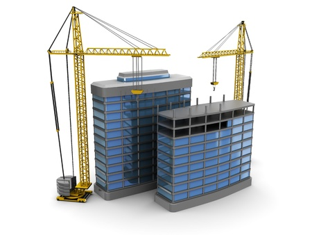 tall building: abstract 3d illustration of modern building construction