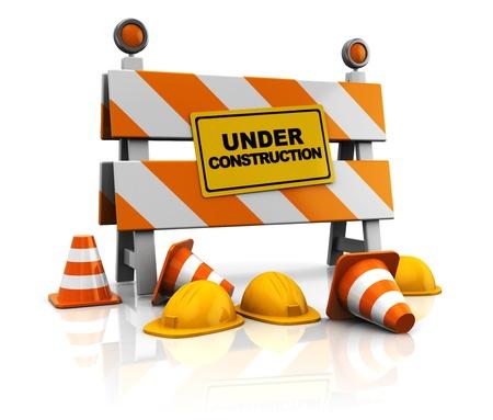cantieri edili: 3d illustrazione in costruzione